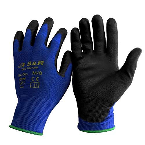 S&R Schutzhandschuhe 12 Paar aus Nylonfaser mit Polyurethanbeschichtung, geeignet für den privaten und...