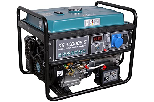 Könner & Söhnen KS 10000E G - Hybrid Benzin-LPG 4-Takt Stromerzeuger, Notstromaggregat 7500 Watt, 1x16A...