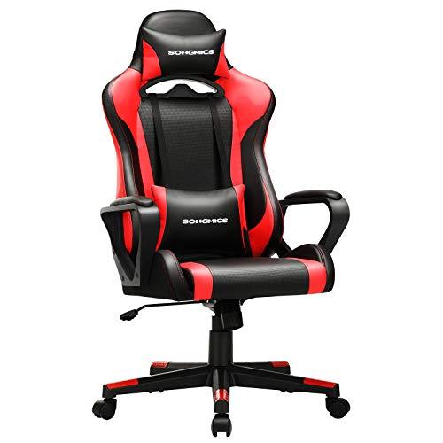 SONGMICS Gaming Stuhl, Schreibtischstuhl, Computerstuhl, Bürostuhl, abnehmbare Kopfstütze, Lendenkissen,...