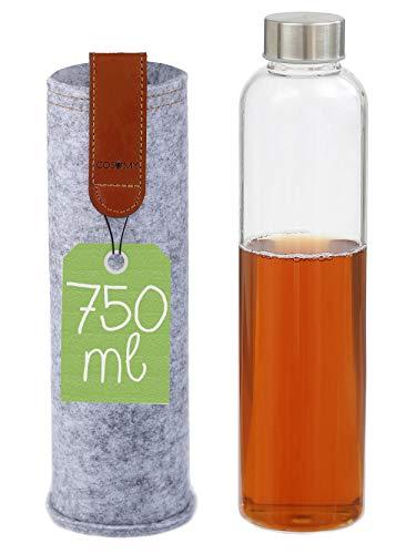 Cosumy Trinkflasche aus Glas mit Filzhülle für Unterwegs - 750ml Glasflasche - Auslaufsicher - Robustes...