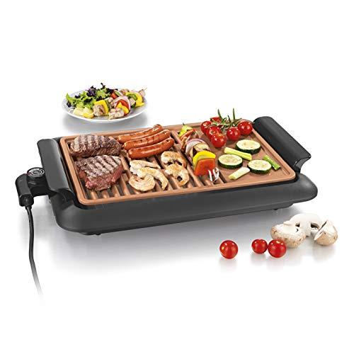 GOURMETmaxx rauchfreier elektrischer Tischgrill | 2 Grillflächen für optimale Ergebnisse, geeignet für...