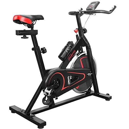 Physionics® Heimtrainer Fahrrad - mit Computer Display, Ergometer, 105x47x100 cm, max 120 kg, Sitz und Griff...