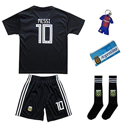 Argentinien Messi Trikot Set #10 Auswärts 2018/19 Kinder Fussball Trikot Mit Shorts und Socken Kinder (7-8...