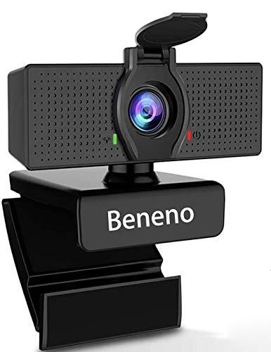 Beneno 1080P Business Webcam mit Mikrofon und Datenschutzabdeckung USB HD-Kamera, 110-Grad-Weitwinkel, Plug &...