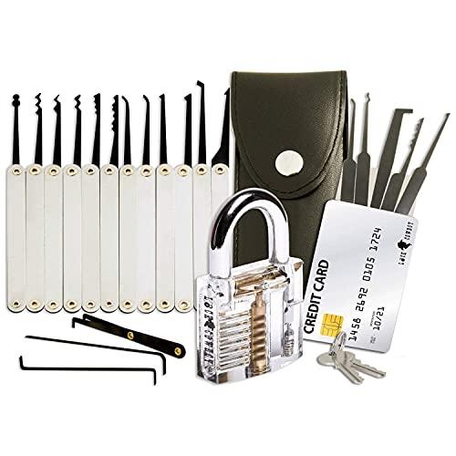 20-teiliges Lockpicking-Set mit Transparentem Vorhängeschloss & Dietrich Kit im Kreditkartenformat von...