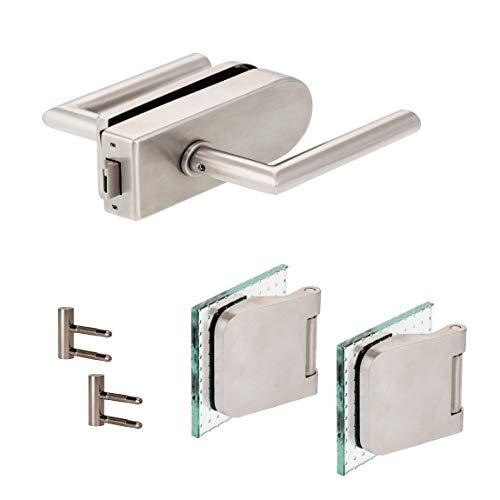 Glastürbeschlag'D' Set UV | V2A Edelstahl matt | inkl. Officebändern + RT | metallische Innenmechanik | New...
