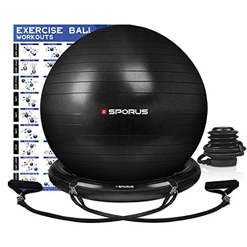 Sporus Gymnastikball Stuhl System, Anti-Burst Sitzball Büro 65 cm mit Ballschale und Widerstandsbändern,...