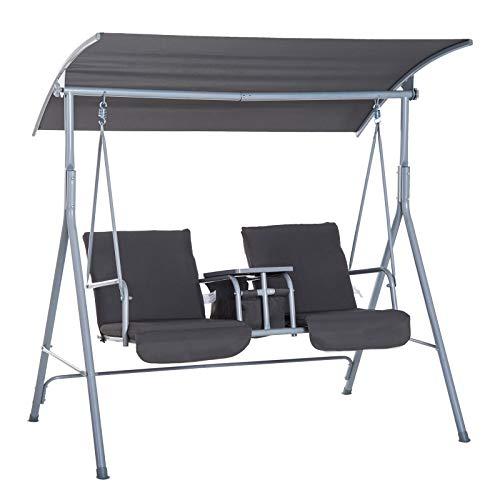 Outsunny Hollywoodschaukel Gartenschaukel Schaukel 2-Sitzer mit Sonnendach Grau 175 x 112 x 165 cm