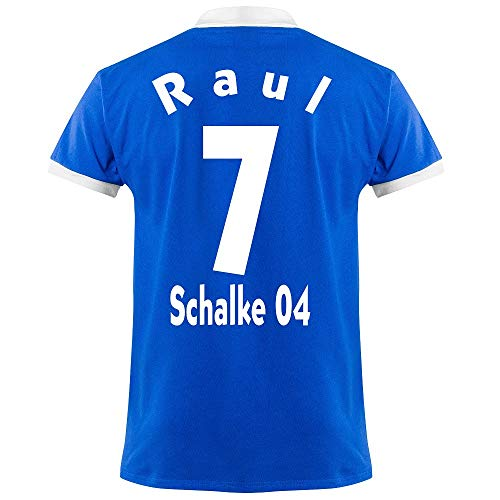 Club Licensed FC Schalke 04 Raul 7 Retro Trikot 1950's (Retro Flock Beflockung) - S