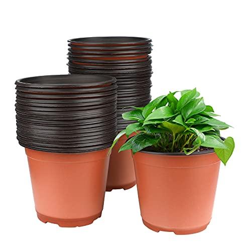 50 Stück weicher Plastik Pflanztopf 15 cm Anzuchttöpfe rund Kunststoff Blumentöpfe für Sämlinge &...