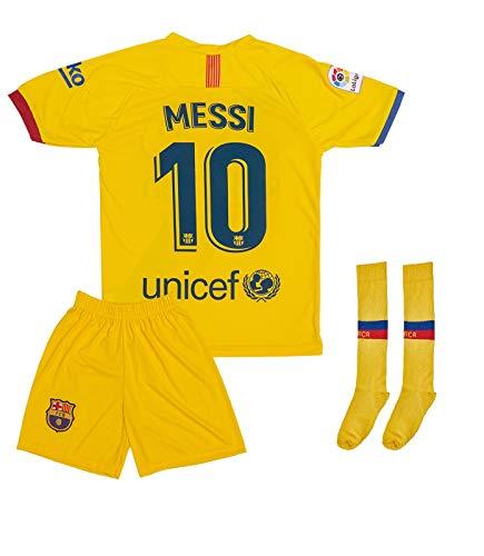 ATB Barcelona 2019/2020#10 Messi Auswärts Kinder Fußball Trikot und Shorts mit Socken Kinder und Jugend...