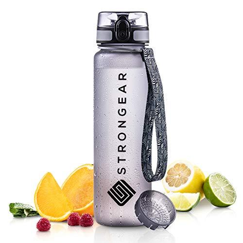 STRONGEAR Premium Trinkflasche - 650 ml, 1000 ml - Sportflasche mit Fruchtsieb - 100% BPA frei - auslaufsicher...