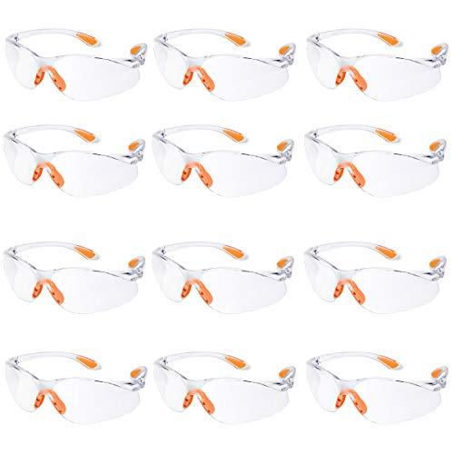 12er Pack Schutzbrille Augenschutz Schutzbrillen Arbeit mit Klaren Gläsern Gumminase Schutzbrille Baustelle...