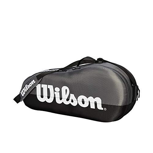 Wilson Schlägertasche Team, 2 Hauptfächer, Bis zu 6 Schläger, grau/schwarz/weiß, WRZ854909