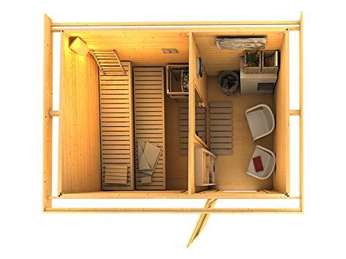 SAUNELLA Sauna Haus mit Ofen | Bausatz Gartensauna - Saunakabine Maße: 330 x 231 x 226 cm | Saunaofen...