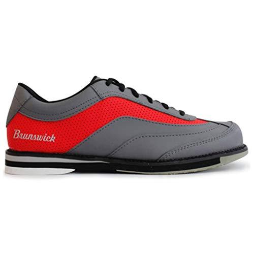 Brunswick Bowling Products Rampage Bowlingschuhe für Herren, rechte Hand, Größe M, US, Grau/Rot, Größe 43