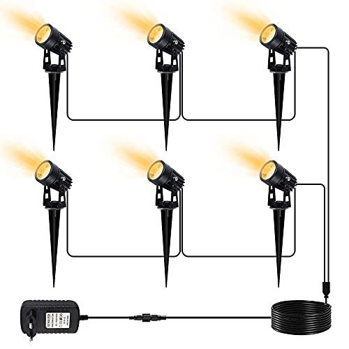 LED Gartenbeleuchtung, CHINLY LED Gartenleuchten 25 m 12V Strahler IP65 Wasserdichte Hausbäume...