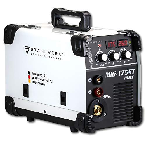 STAHLWERK MIG 175 ST IGBT - MIG MAG Schutzgas Schweißgerät mit 175 Ampere, FLUX Fülldraht geeignet, mit MMA...