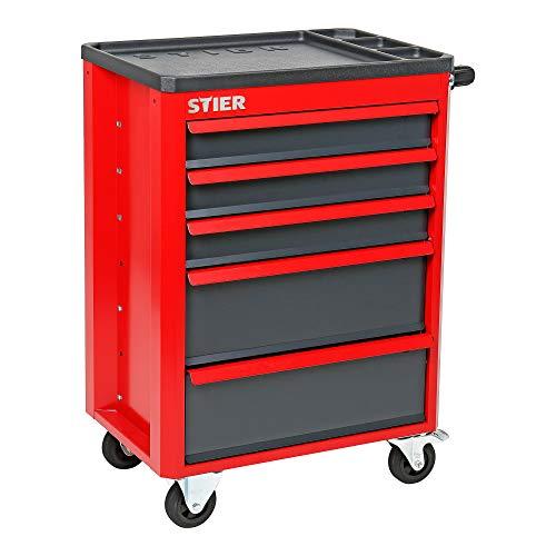 STIER Werkstattwagen Basic+, Montagewagen mit Kunststoffabdeckung, unbestückt - leer, Werkzeugwagen, Max....