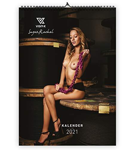 VISIT-X SugarRachel Wandkalender 2021, hochwertiges Bilderdruckpapier in A3 mit 12 erotischen Motiven
