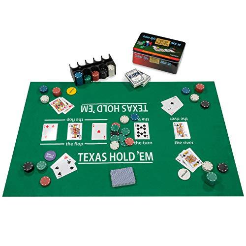Nexos Poker Starter-Set Pokerset mit 200 Chips in Geschenk-Box aus Metall inkl. Spielmatte 2 Decks Pokerkarten...