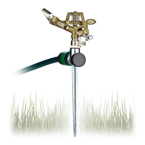 Relaxdays, Bewässerung großer Flächen bis 700 m², 15 m Reichweite, 360°, Rasensprenger, grün...