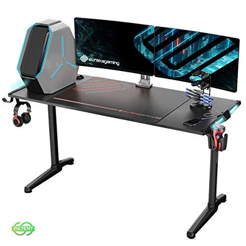 EUREKA ERGONOMIC Gaming Tisch Groß mit P55 Gamer Tisch mit RGB Beleuchtung Gaming Schreibtisch PC...