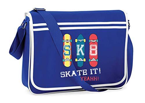 Druckerlebnis24 Schultertasche - Skateboard Skaten Rollbrett Vintage - Umhängetasche, geeignet für Schule...