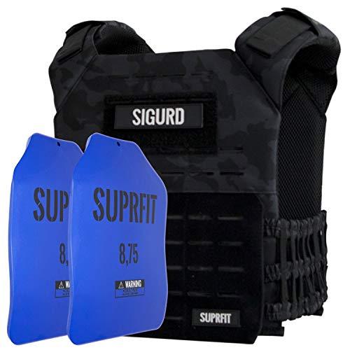 Suprfit Sigurd 3D Gewichtsweste verstellbar, erweiterbar auf 17kg, Basisgewicht Weight Vest 1kg, Zusatzgewicht...