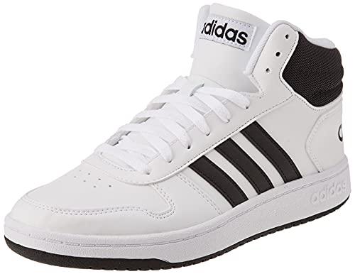 adidas Herren Hoops 2.0 Mid Sneaker, Cloud White/Core Black/Core Black, 43 1/3 EU