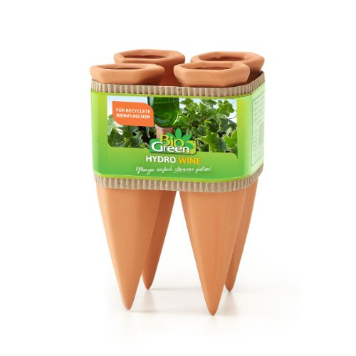 Bio Green Pflanzen Bewässerung Wine Tonkegel, terracotta/grün - für Wein Flaschen
