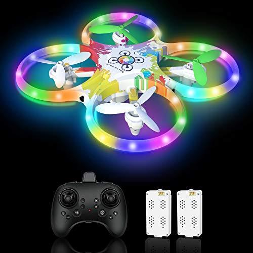 Drohne für Kinder Bunte LED-Lichter Leuchten Nacht RC Quadrocopter 2 Akkus für 18 Minuten mit 5 Intelligente...
