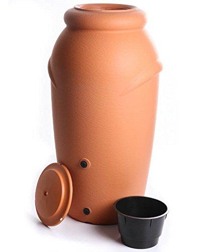 Regenwassertonne Regentonne Regenbehälter Regentank Amphore 210L 3 Farben Wasserhahn wählbar (Terracotta mit...