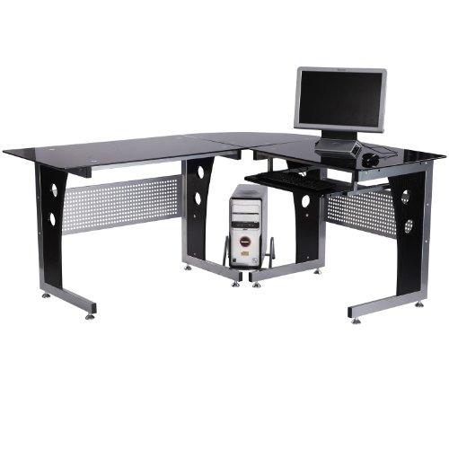 HOMCOM Eckschreibtisch Computertisch Schreibtisch Bürotisch PC Tisch mit schwarzem Sicherheitsglas