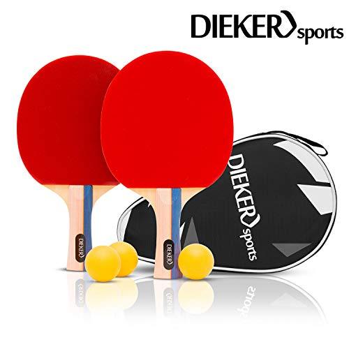 PREMIUM Tischtennisschlaeger Set von Dieker Sports - erstklassigem Spielgrip - 2 Tischtennisschläger + 3x3...