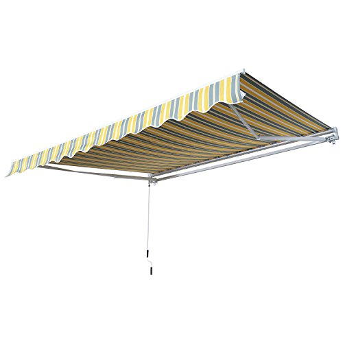 Outsunny Markise Gelenkarmmarkise Sonnenschutz Handkurbel Balkon Alu Gelb+Grau2,95x2,45m