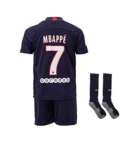 Paris #7 Mbappe 2019-2020 Heim Kinder Fußball Trikot Hose und Socken Kindergrößen