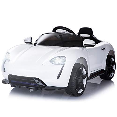 HOMCOM Kinderauto Elektroauto Kinderfahrzeug Kinderwagen mit Fernbedienung Weiß L115 x B65 x H50 cm