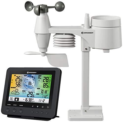 Bresser Wetterstation Funk mit Außensensor Wetter Center 5-in-1 mit 5,7 Zoll Farb-Dispay und Außensensor...