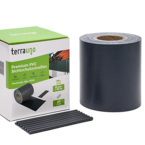 TerraUno - Premium Sichtschutzstreifen für Doppelstabmattenzaun - Gartenzaun I 50mx19cm inkl. 30 Clips I...