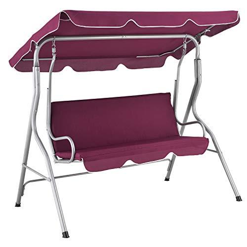 ArtLife Hollywoodschaukel 3-Sitzer mit Dach & Sitzauflage – Gartenschaukel 200 kg belastbar – Schaukelbank...