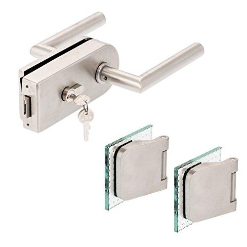 Glastürbeschlag'D' Set PZ | inkl. Profilzylinder | V2A Edelstahl matt | inkl. Officebändern | metallische...