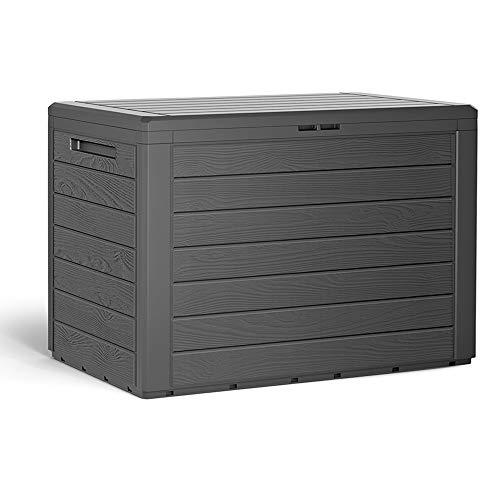 Auflagenbox 190 L Holz-Optik Wasserabweisend Deckel Abschließbar Garten Balkonbox Gartenbox Truhe Anthrazit