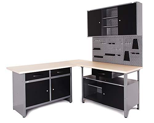 Ondis24 Werkstatt Ecklsung Basic One, 160 cm breit, 2x Werkbank, 1x Werkzeugschrank, Metall, abschliebar, 3x...