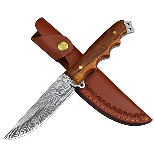 AUBEY Jagdmesser Outdoor Survival Messer Feststehend Bushcraft Messer mit Ledertasche, D2 Stahl Klinge Extra...