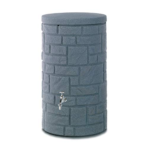 Regentonne anthrazit Regenwassertank Arcado 230 Liter aus UV- und witterungsbeständigem Material. Regenfass...