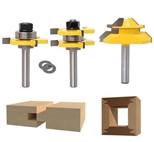 45 Grad Lock Mitre Router Bit, APLUS Holzfräser, Nutfräser + 8 mm Schaft Zungenschaft und Nutfräse Set 3...