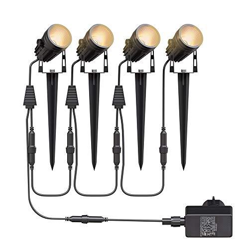 Gartenbeleuchtung LED,Aogled 4x3W COB im Freien IP65 Wasserdichter Gartenleuchte, Warmweiß 3000K...