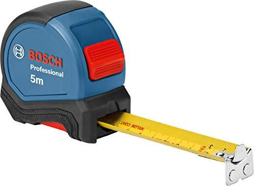 Bosch Professional Maßband 5 m (Einhandbedienung, Gürtelklemme, Magnethaken, 2 Stopp-Tasten, 27 mm...