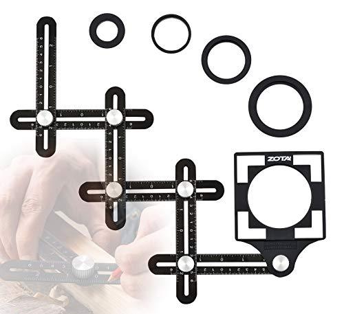 ZOTA Winkelschablone,6-seitiges Fliesen Werkzeug mit 5-Loch-Positionierungsöffnung,Multi Winkel Messwerkzeug...